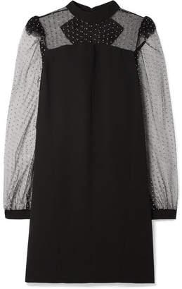 Givenchy Embellished Tulle-trimmed Crepe Mini Dress - Black