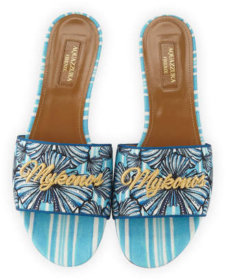 Aquazzura Mykonos Shell-Print Slide Sandals, Blue Pattern