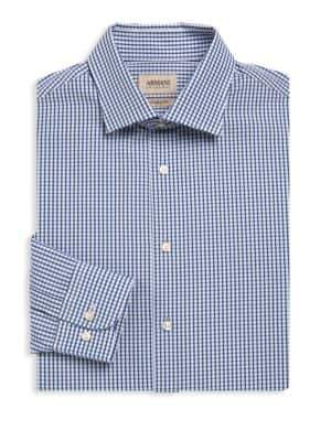 Armani Collezioni Modern-Fit Plaid Dress Shirt