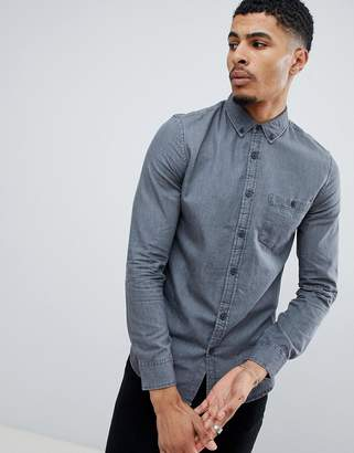 New Look regular fit denim shirt in grey wash