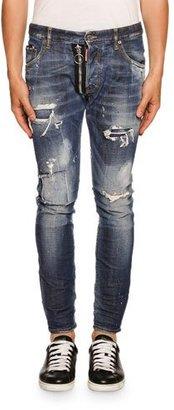 Dsquared2 Skater Zip-Detail Love Wash Jeans, Blue $690 thestylecure.com