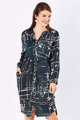 bird by design Womens Knee Length Dresses The Printed Drawstring Dress Sketch