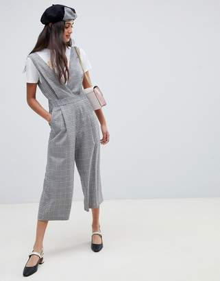 Miss Selfridge jumpsuit in gray check