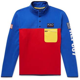 Polo Ralph Lauren Hi-Tech Logo-Appliquéd Shell-Trimmed Colour-Block Fleece Sweatshirt