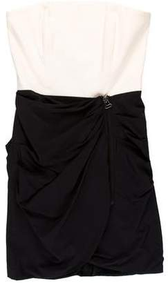 Alice + Olivia Sara Silk Strapless Drape Dress