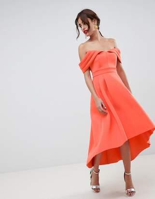 Bardot ASOS DESIGN Cold Shoulder Dip Back Midi Prom Dress