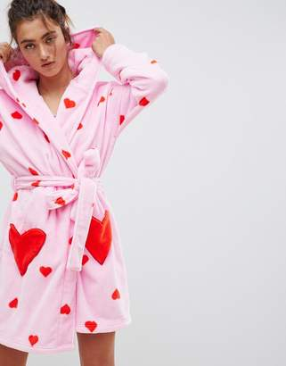 Asos DESIGN heart print supersoft Robe