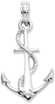 Macy's 14k White Gold Charm, 3D Anchor and Rope Charm