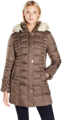 Betsey Johnson Women's 3/4 Puffer with Popcorn Detailed Sleeve/Cinched Waist/Faux Fur Hood Strip