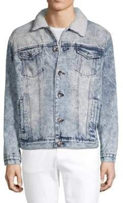 Classic Faux Shearling Denim Jacket