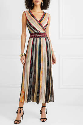 Missoni Wrap-effect Metallic Crochet-knit Silk-blend Midi Dress - Blush