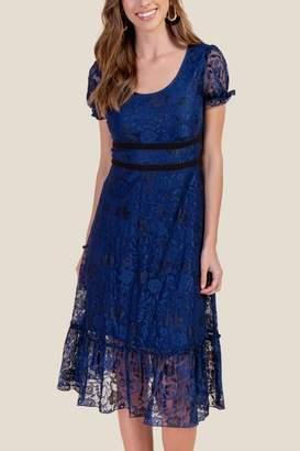 francesca's Samantha Lace Midi Dress - Navy