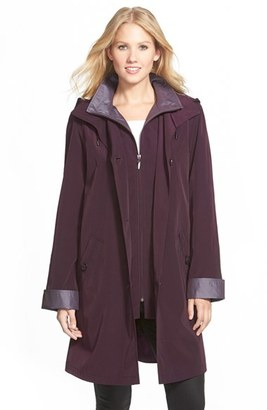 Women's Gallery Two Tone Long Silk Look Raincoat $210 thestylecure.com
