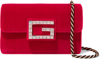 Gucci Broadway Crystal-embellished Velvet Shoulder Bag - Red