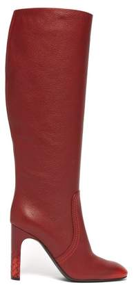 Bottega Veneta Intrecciato Heel Knee High Leather Boots - Womens - Red