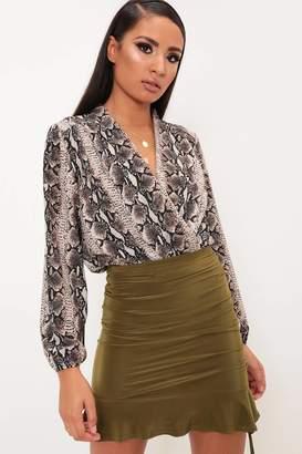 d503683133 I SAW IT FIRST Khaki Slinky Ruched Frill Midi Skirt