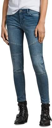 AllSaints Biker Ankle Skinny Jeans in Indigo Blue