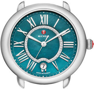 Michele Serein 16 Mid Stainless Steel Watch Head with Diamonds, Silver/Teal