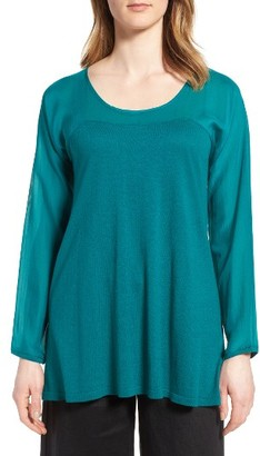 Women's Eileen Fisher Mixed Media Tunic $298 thestylecure.com