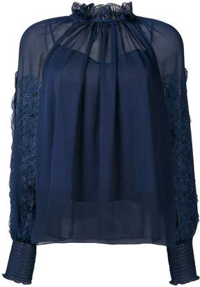 See by Chloe floral appliqué frill collar blouse
