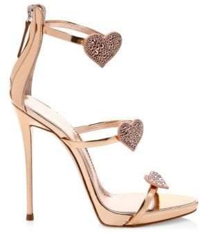 Giuseppe Zanotti Swarovski Crystal& Leather Stiletto Heart Sandals