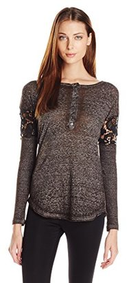 Buffalo David Bitton Women's Bay My Lids Henley with Lace Cutouts and Back $42.33 thestylecure.com