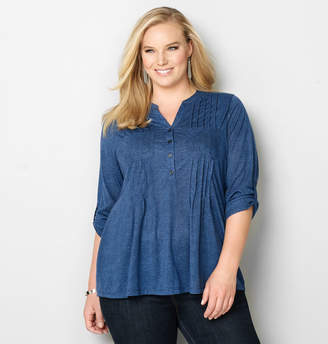 Avenue Knit Denim Pleated Top