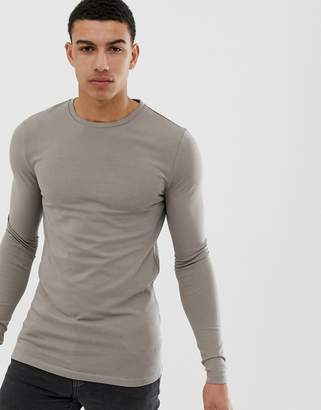 BEIGE Asos Design ASOS DESIGN organic muscle fit long sleeve crew neck t-shirt with stretch in