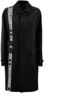 DSQUARED2 Black Wool Oversized Tape Mod Trench.