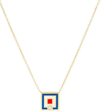 K Kane Code Flag Square Diamond Pendant Necklace - W