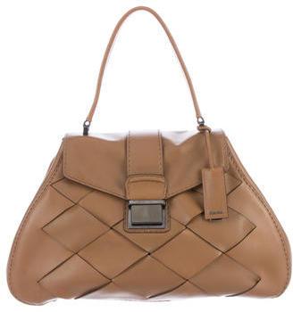 Miu MiuMiu Miu Woven Leather Top Handle Bag