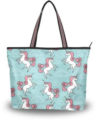 e0fd47b5ef Senya Women Tote Top Handle Shoulder Bags Unicorn Magic Partern Ladies  Handbag