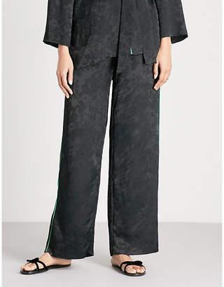 Maje Pasito side-stripe floral-jacquard wide-leg trousers