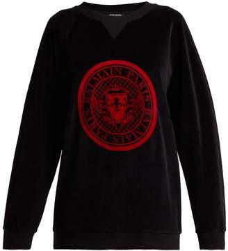 Balmain Logo-jacquard velvet sweatshirt
