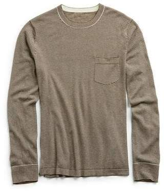 Todd Snyder Italian Cashmere micro stripe T-shirt Sweater in Brown