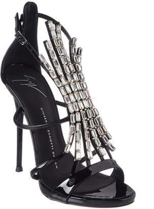 Giuseppe Zanotti Embellished Patent Leather T-Strap Sandal