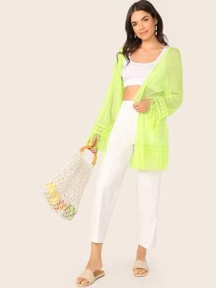 Shein Neon Lime Fringe Trim Semi Sheer Kimono