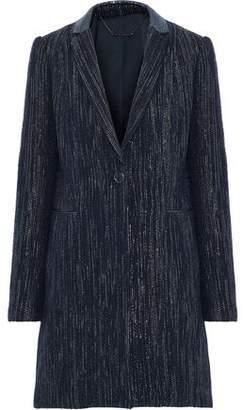 Elie Tahari Pam Iridescent Leather-Trimmed Metallic Felt Coat