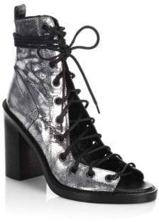 Ann Demeulemeester Metallic Leather Lace-Up Sandals