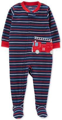 Carter's Toddler Boys Fire Truck Striped Fleece Pajamas