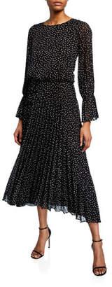 Emporio Armani Long-Sleeve Swiss-Dot Dress