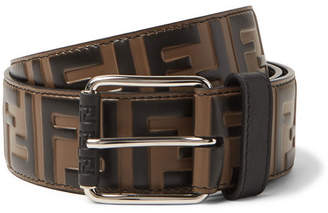 Fendi 4.5cm Brown Logo-Embossed Leather Belt