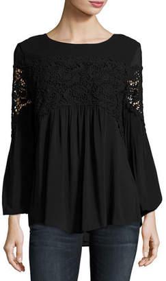 XCVI Aubree Floral-Crochet Top, Plus Size