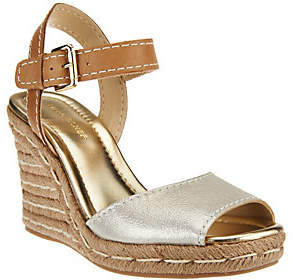 Marc Fisher Leather Peep-toe Espadrille Wedges- Maiseey