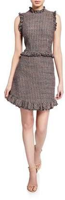 Rebecca Taylor Sleeveless Tweed High-Neck Short Dress