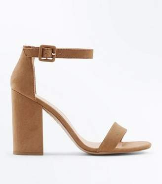 New Look Mink Suedette Barely There Block Heels
