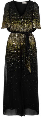 Temperley London Ruth Sequin-embellished Georgette Jumpsuit - Black