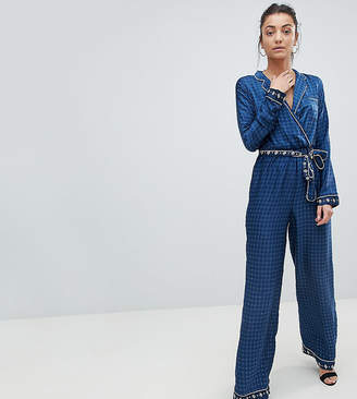 Missguided Tall Contrast Print Pajama Jumpsuit