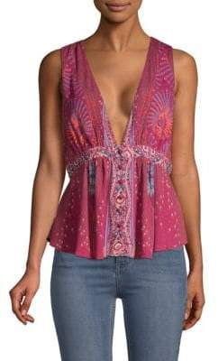 Free People Siren Printed V-Neck Tank Top