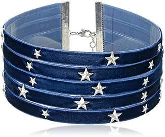 Steve Madden 5 Row Velvet with Star Charms Choker Necklace